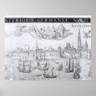 Plan de ciudad de Amberes 1549 Posters