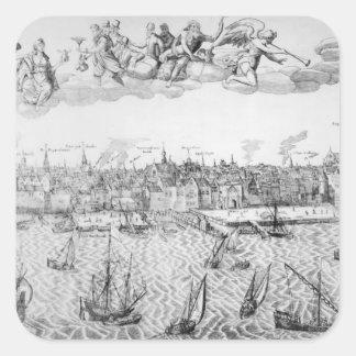 Plan de ciudad de Amberes 1549 Colcomanias Cuadradas