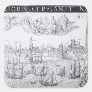 Plan de ciudad de Amberes 1549 Calcomanía Cuadradase