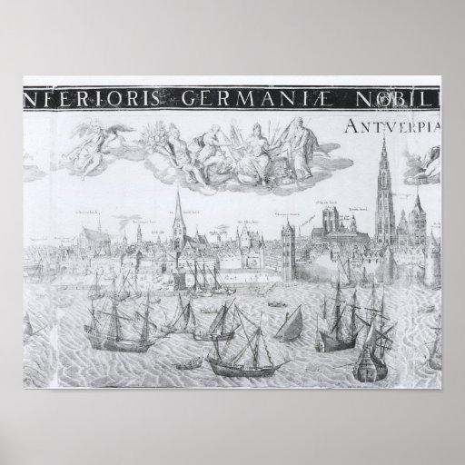 Plan de ciudad de Amberes, 1549 Posters
