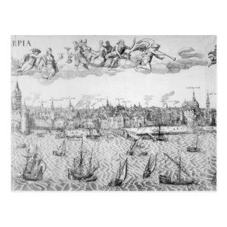 Plan de ciudad de Amberes 1549 Postal