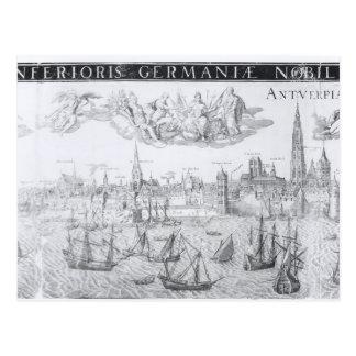 Plan de ciudad de Amberes 1549 Tarjeta Postal