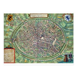 Plan de ciudad de Brujas, de 'Civitates Orbis Terr Tarjeta Postal