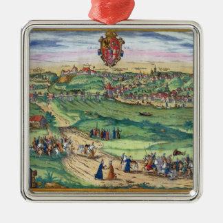 Plan de ciudad de Grodno, de 'Civitates Orbis Adorno Cuadrado Plateado