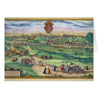 Plan de ciudad de Grodno, de 'Civitates Orbis Terr Felicitación