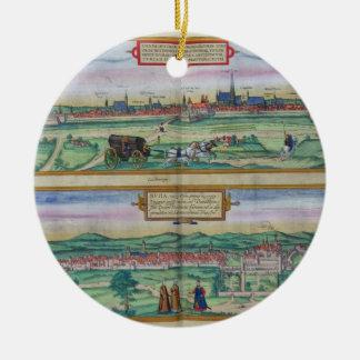 Plan de ciudad de Viena y de Buda, de 'Civitates Adorno Redondo De Cerámica