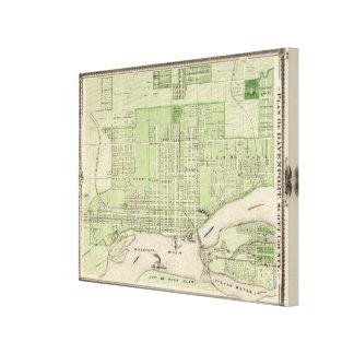 Plan de Davenport, el condado de Scott, estado de  Impresión En Lienzo Estirada