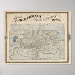 Plan de Des Moines, el condado de Polk, Iowa Póster