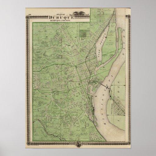 Plan de Dubuque, el condado de Dubuque, estado de  Posters
