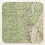 Plan de Dubuque, el condado de Dubuque, estado de Posavasos De Cartón Cuadrado