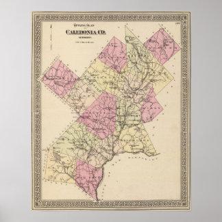 Plan de esquema de Caledonia Company en Vermont Póster