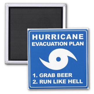 Plan de evacuación del huracán; -) imán cuadrado