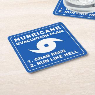 Plan de evacuación del huracán posavasos personalizable cuadrado