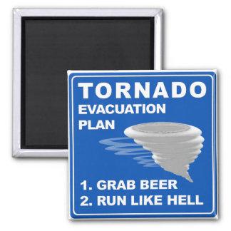 Plan de evacuación del tornado; -) imán cuadrado