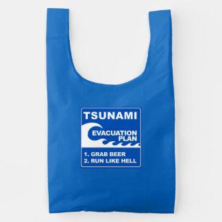 Plan de evacuación del tsunami bolsa reutilizable
