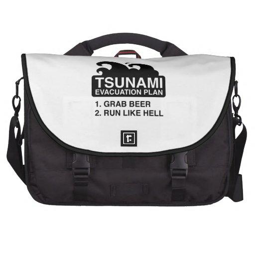 Plan de evacuación del tsunami bolsas de ordenador