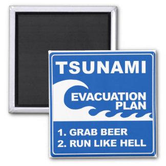 Plan de evacuación del tsunami imán cuadrado