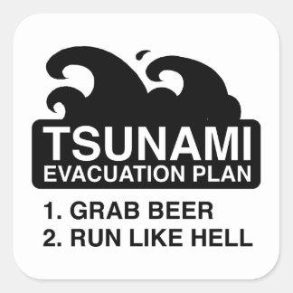 Plan de evacuación del tsunami pegatina cuadrada