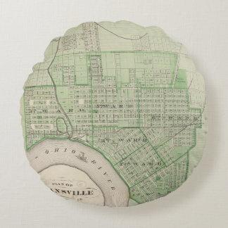 Plan de Evansville, Vanderburgh Co Cojín Redondo