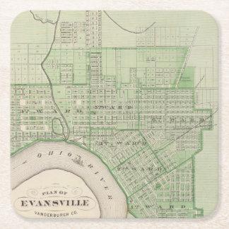 Plan de Evansville, Vanderburgh Co Posavasos De Cartón Cuadrado