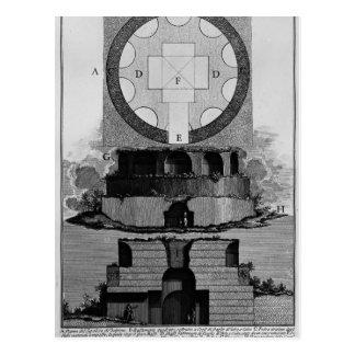 Plan de Juan Battista Piranesi- de una tumba de la Tarjeta Postal