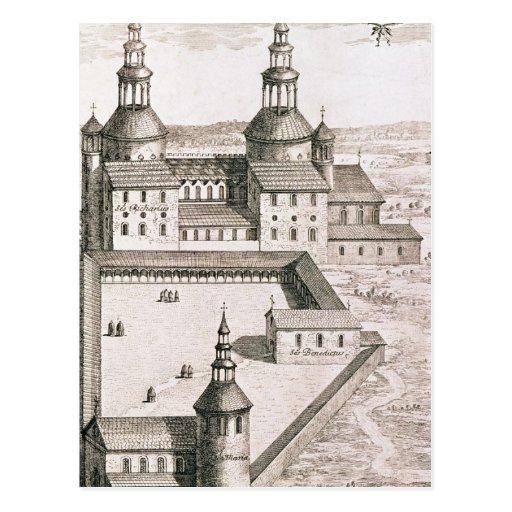 Plan de la abadía benedictina del Santo-Riquier Postales