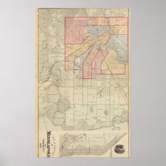 Plan de la ciudad de Minneapolis y de la vecindad Poster