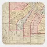 Plan de la ciudad de Minneapolis y de la vecindad Calcomanía Cuadrada Personalizada