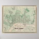 Plan de la ciudad de nueva Albany, Floyd Co, India Impresiones