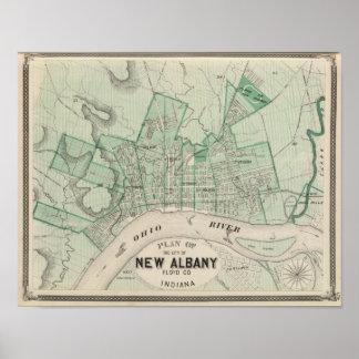 Plan de la ciudad de nueva Albany, Floyd Co, India Póster