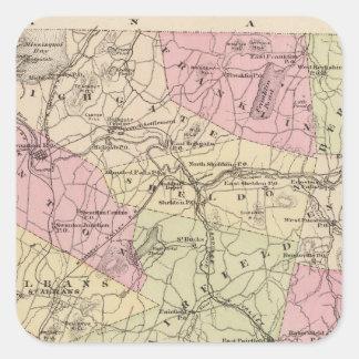 Plan de la isla magnífica y de Franklin en Vermont Calcomanías Cuadradases