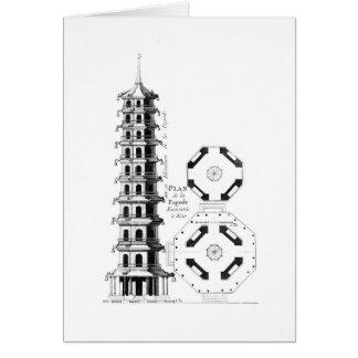 Plan de la pagoda en Kew, de la 'Anglo-Ji de Jardi Felicitación