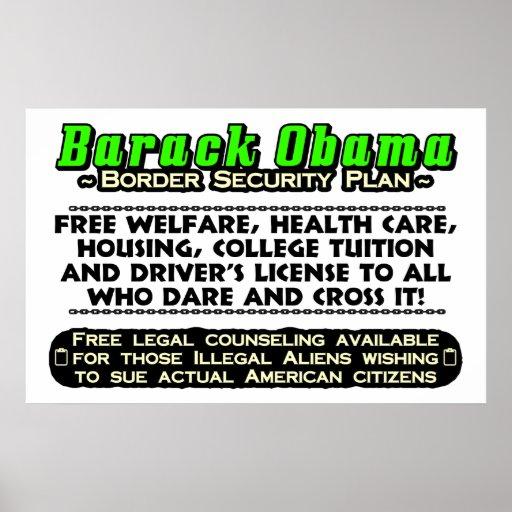 Plan de la seguridad de fronteras de Obama Póster