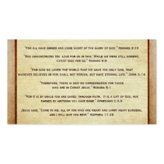 Plan de la zona del evangelio del cristiano de las tarjetas de visita
