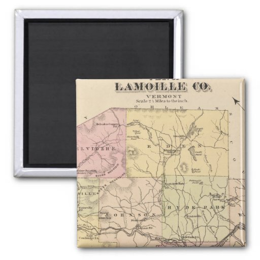 Plan de Lamoille Company en Vermont Imán Cuadrado