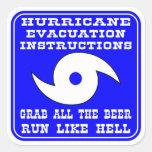 Plan de las instrucciones de la evacuación del hur calcomanías cuadradas personalizadas