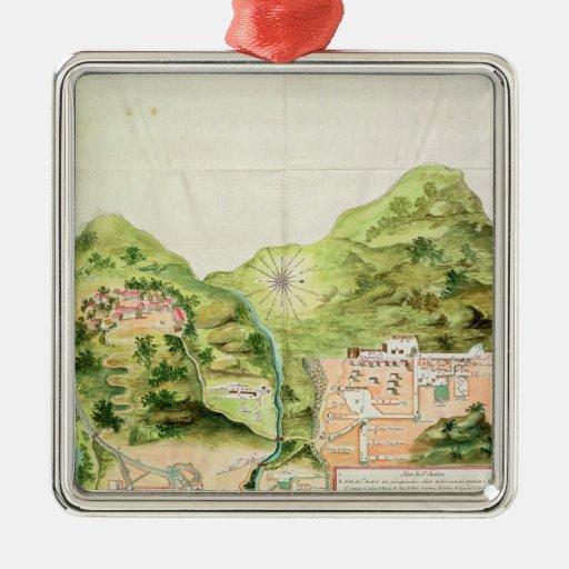 Plan de las minas de Oaxaca, México, 1785-87 Adorno Cuadrado Plateado