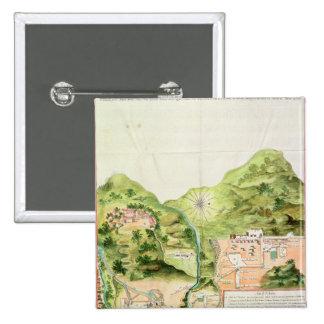 Plan de las minas de Oaxaca, México, 1785-87 Pin Cuadrada 5 Cm