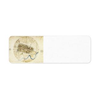 Plan de Leonardo DA Vinci- A de Imola Etiqueta De Remite