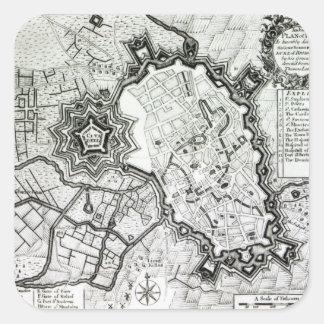 Plan de Lisle, 1736 Calcomanía Cuadrada Personalizada
