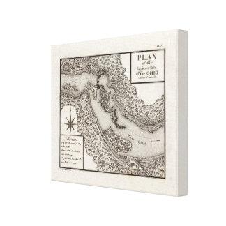 Plan de los Rapids o de las caídas del Ohio Impresión En Lona