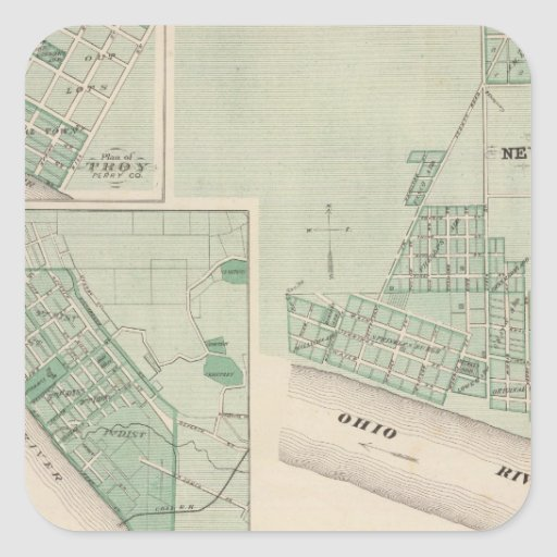 Plan de Newburgh, Warrick Co con Boonville Pegatina Cuadrada