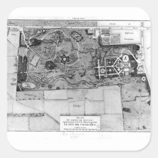 Plan de Parc Monceau en París Pegatina Cuadrada