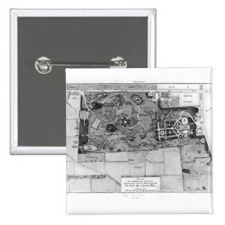Plan de Parc Monceau en París Pin Cuadrado