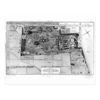 Plan de Parc Monceau en París Postal