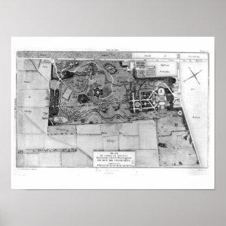 Plan de Parc Monceau en París Póster