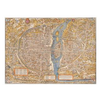 Plan de París por Truschet y Hoyau circa 1550 Fotografía