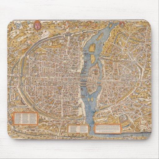 Plan de París por Truschet y Hoyau circa 1550 Alfombrillas De Raton