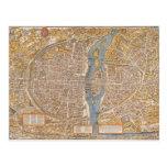 Plan de París por Truschet y Hoyau circa 1550 Postal