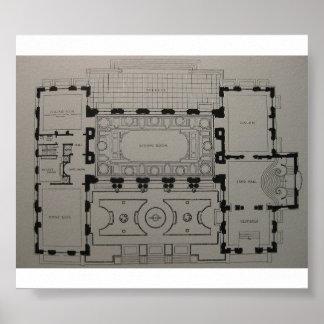 Plan de piso de la mansión de la primera planta póster